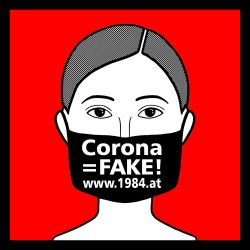 "Aufkleber                                             ""Corona=Fake""                                             Protest gegen Coronagesetze"
