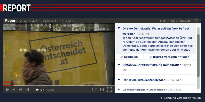 "ORF-""Report"" zum Thema ""DIREKTE DEMOKRATIE IN DEN KOALITIONSVERHANDLUNGEN"""